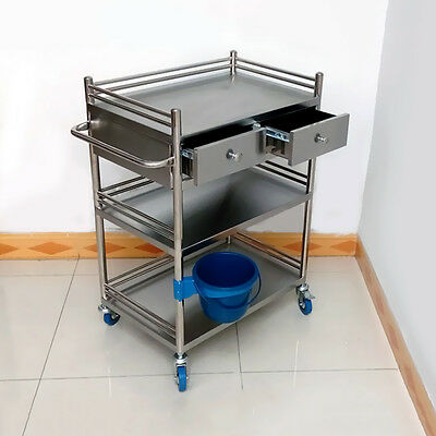 Stainless Steel C16V9 Serving Medical Dental 3 Layers 2 Drawer Cart Trolley Wish
