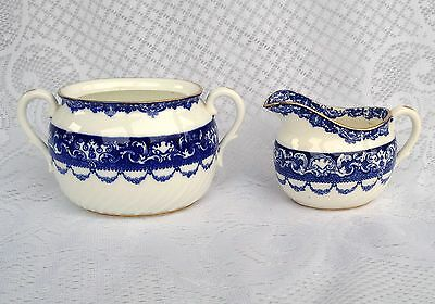 Antique 1900-1924 Mark Doulton Burslem Navy Blue/White Creamer/Sugar Bowl (488)