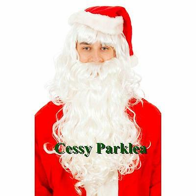 Adult Santa Claus Beard & Wig Set Christmas Fancy Dress Up Costume Accessories