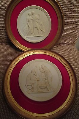 "Antique Pair Of Framed Bisque Plaques "" Season's Of Life ""  Autumn And Winter"
