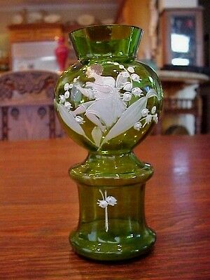 Antique Hand Painted Mary Gregory Green Art Glass Vase