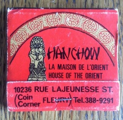 Vintage Matchbook Hanchow Chinese Restaurant Quebec