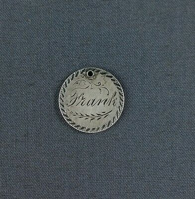 Antique Silver Love Token Engraved Name Frank 1886 Seated Liberty Dime