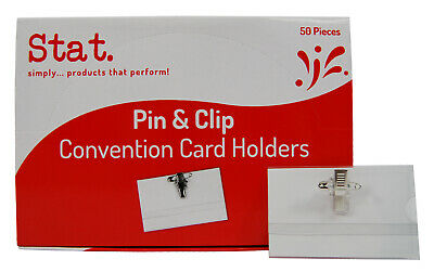 50 X Sovereign Conference Name Badge & Card Holder Pin & Clip