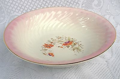 KPM Germany Large Serving Bowl - Pink Colour/Gold Rim with Flowers (505)