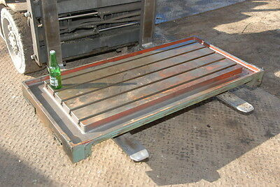 """T-slotted precision Cast Iron Surface Plate table;47x19.5""""t-slot area INV=24064"""