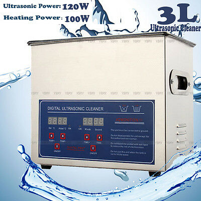 Stainless Steel 3L Liter Industry Heated Ultrasonic Cleaner Heater w/Timer US