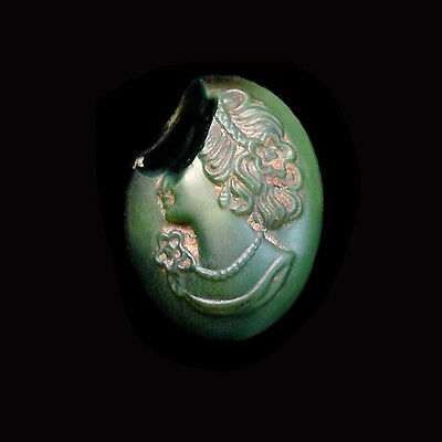 A beautiful Roman green glass cameo showing a noblewoman a6830