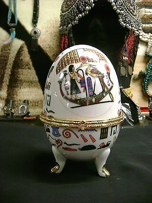 Unique Egyptian God Thoth Ceramic EGG JEWELRY BOX 1981 Hand Made in Egypt