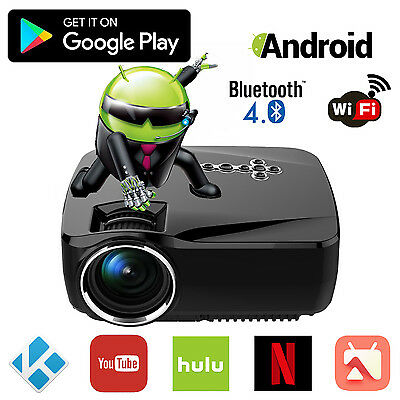 Android 4.4 Full HD 1080P WiFi Bluetooth Home Cinema Projector Game XBOX TV