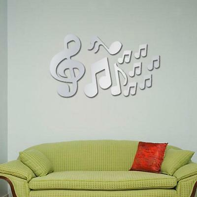 10pcs Music Notes Mirror Removable Decal Art Mural Wall Stickers DIY Decor
