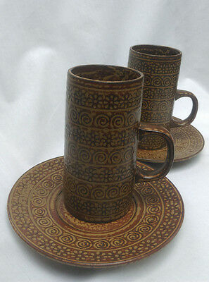 Vintage Japanese stoneware circa 1965 2 x cofee cup with saucers ARABE