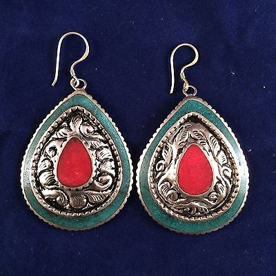 Handmade Tibetan Style Turquoise and Coral Earring from Nepal