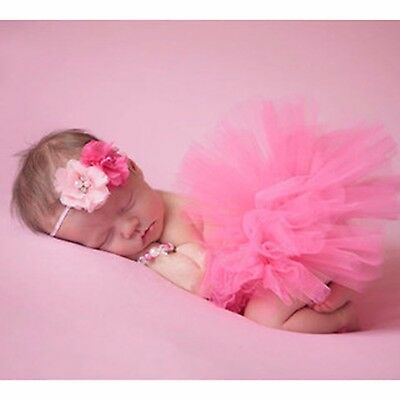 New Tutu Skirt & Headband Photo Prop Costume Outfit For Toddler Baby Girl
