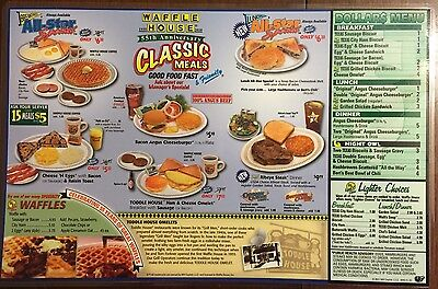 New 2011 Laminated Waffle House Menu Double Sided Place Mat ham Collectible GIFT