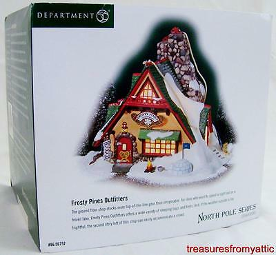 Dept 56 North Pole FROSTY PINES OUTFITTERS #56752 NIB Lighted Village *See Desc*