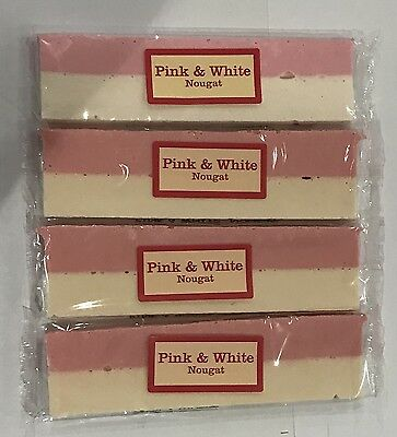 901405 4 x 150g BARS OF PINK & WHITE NOUGAT - THE REAL CANDY CO - UK