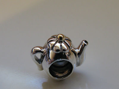 Authentic Pandora Two Tone Silver & 14K Gold Teapot Charm 790250 retired