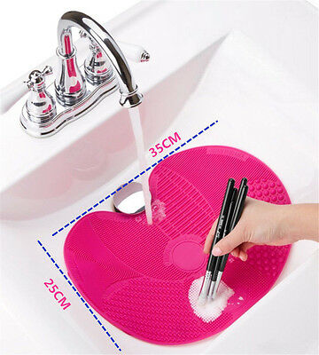 Silicone Makeup Cosmetic Brush Cleaner Washing Scrubber Board Cleaning Mat Pad N