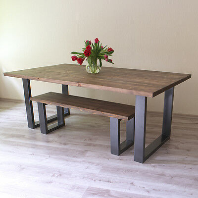 U shaped legs modern industrial dining table