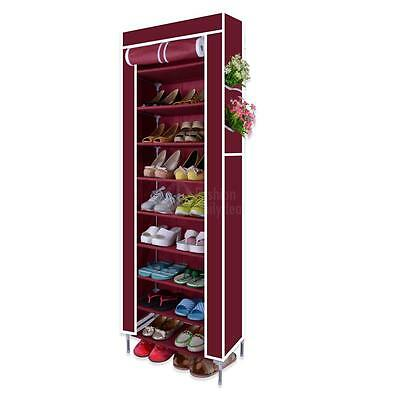 10 Tier Shoes Cabinet Storage Organizer Shoe Rack with Cover Portable Wardrobe