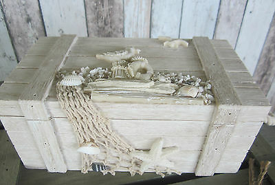 Shabby Chic Wooden Beach Trinket Box Chest Net Starfish Shells Seagulls Large Sz