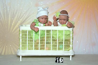 Twins with playpen OOAK Baby Art Doll Polymer Clay