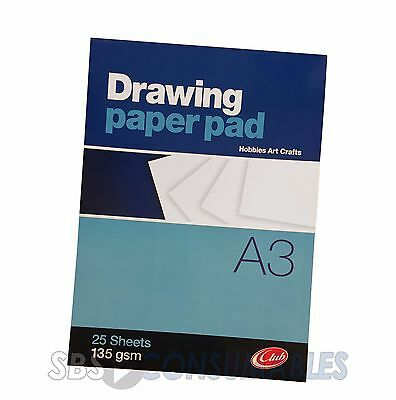 Club Drawing Paper Pad - 25 Sheets of A3 135gsm heavy paper. Large Sketch Book