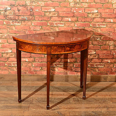 Antique Demi-Lune Card Table, Fold Over Games, Burr Mahogany Side English c.1760