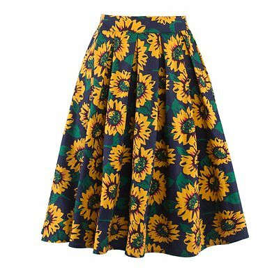 Floral Printed High Waist Flared Pleated Swing Long Skirt Women Stretch Dress