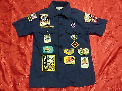 """Q04 Used OFFICIAL BSA BOY SCOUTS OF AMERICA Uniform shirts YOUTH MED 36"""""""