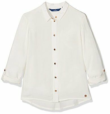 TOM TAILOR Kids solid blouse, Camicia Bambina, Bianco (soft clear white), 164(DE