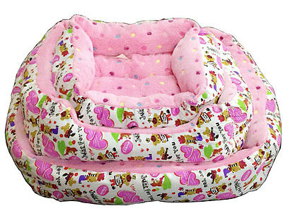 Super Soft Pink Spots Luxury Comfy Dog/Puppy/Cat/Pet Bed Cushion S/M/L Washable