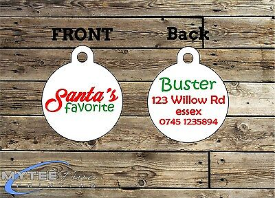 Christmas Dog ID Tags -- Santa's Favorite -- Double Sided Personalized Pet Tags