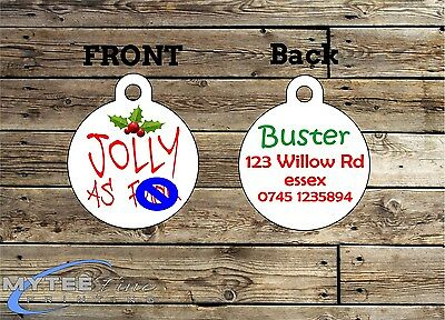 Christmas Dog Cat ID Tags -- Jolly As F*** -- Double Sided Personalised Pet Tags