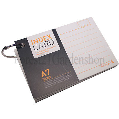 x2 A7 Morning Glory 7mm  Ruled White  Index Note Cards  With Steel Ring - 2 Pcs