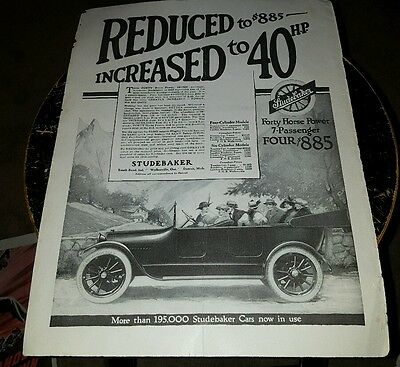 Vintage 1915 Ad  40 Hp Studebaker $885 Car Free Shipping