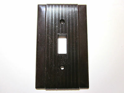 Vintage Uniline Hubbell Ribbed Bakelite Brown Switch Plate Cover Art Deco Lined