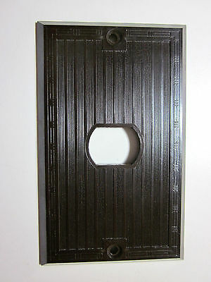 Vintage Brown Bakelite Hubbell Despard Switch Plate Cover Ribbed Dashed Deco