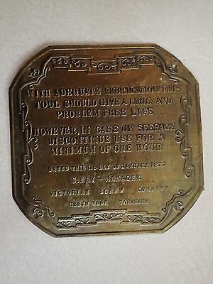 Vintage brass industrial machine plaque Victorian screw company