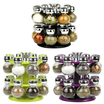 Modern 16 Revolving Kitchen Spice Rack Glass Jars Purple Black Green Homeware