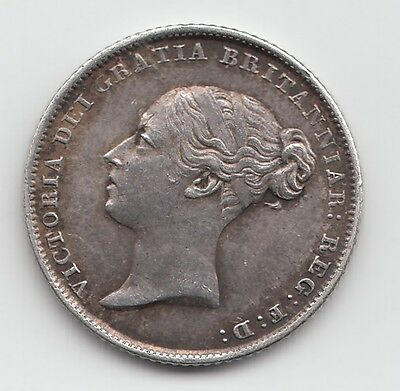 Rare 1843 Silver Sixpence 6d - Victoria