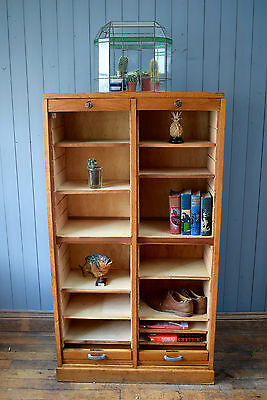 Vintage Antique French Light Oak Double Tambour Filing Cabinet CAN DELIVER