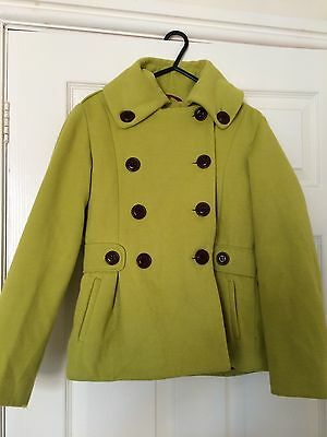 Next Girls Jacket Age 11-12 Years Lime Green Buttoned Winter Coat