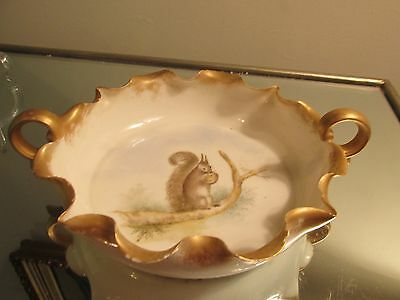 Antique Hand Painted SQUIRREL Nut Bowl Double Handles Ruffled Rim Gold Trim