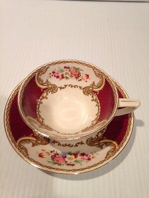 Myott Staffordshire THE BOUQUET MAROON Cup & Saucer ENGLAND BURGANDY FLORAL
