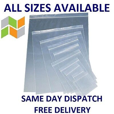 ALL SIZES Clear Grip Seal Bags Self Resealable Poly Plastic Zip Lock HEAVY DUTY
