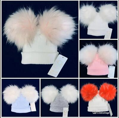 Stunning Baby Faux Raccoon Fur Pompom Hat/Double Fur Pom/White/Blue/Pink