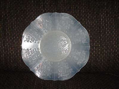 """Petalware Pale Blue Raised Pattern Opalescent Scalloped Edge Glass 10 1/2"""" Plate"""