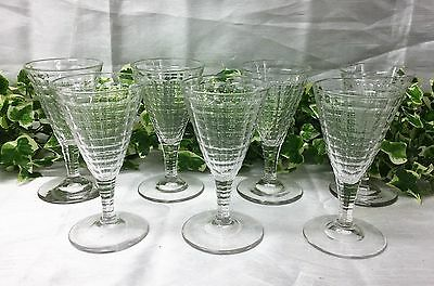 Beautiful Set Of Seven James Powell Whitefriars Conical Cut Glass Wine Glasses